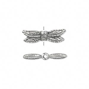 bead, antiqued pewter (tin-based alloy), 21x6mm double-sided dragonfly. sold per pkg of 2.