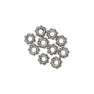 bead, antiqued pewter (tin-based alloy), 5.5x3mm beaded rondelle. sold per pkg of 10.
