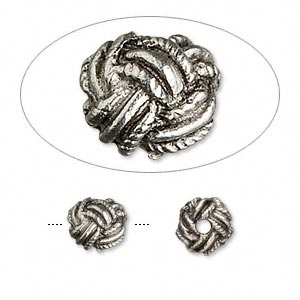 bead, antiqued pewter (tin-based alloy), 7mm rope round. sold per pkg of 4.