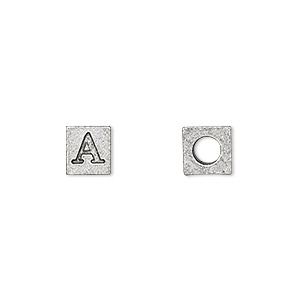 bead, antiqued pewter (tin-based alloy), 7x7mm cube with greek letter, alpha, 3mm hole. sold per pkg of 4.