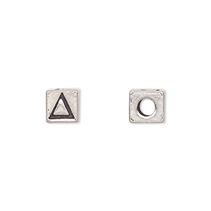 bead, antiqued pewter (tin-based alloy), 7x7mm cube with greek letter, delta, 3mm hole. sold per pkg of 4.