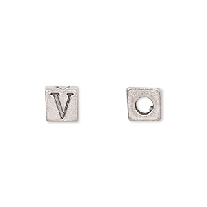 bead, antiqued pewter (tin-based alloy), 7x7mm cube with greek letter, lambda, 3mm hole. sold per pkg of 4.