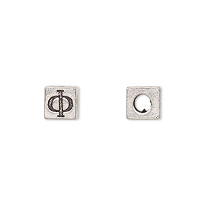 bead, antiqued pewter (tin-based alloy), 7x7mm cube with greek letter, phi, 3mm hole. sold per pkg of 4.