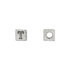 bead, antiqued pewter (tin-based alloy), 7x7mm cube with greek letter, tau, 3mm hole. sold per pkg of 4.