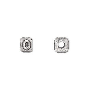bead, antiqued pewter (tin-based alloy), 8x6mm rectangle with alphabet letter o and 3mm hole. sold per pkg of 4.