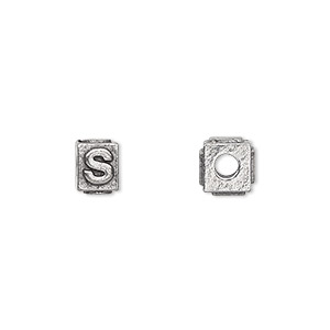 bead, antiqued pewter (tin-based alloy), 8x6mm rectangle with alphabet letter s and 3mm hole. sold per pkg of 4.