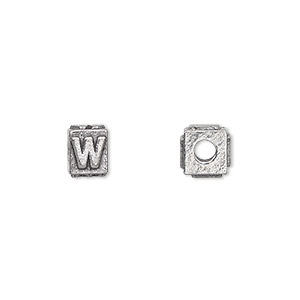 bead, antiqued pewter (tin-based alloy), 8x6mm rectangle with alphabet letter w and 3mm hole. sold per pkg of 4.