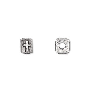 bead, antiqued pewter (tin-based alloy), 8x6mm rectangle with cross, 3mm hole. sold per pkg of 4.