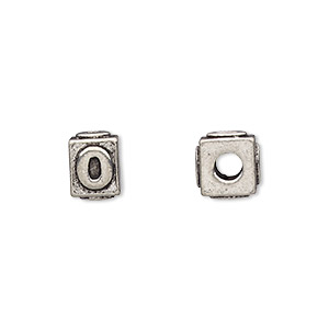bead, antiqued pewter (tin-based alloy), 8x6mm rectangle with number 0, 3mm hole. sold per pkg of 4.