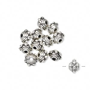 bead, antiqued pewter (zinc-based alloy), 7x5mm studded beaded rondelle. sold per pkg of 12.