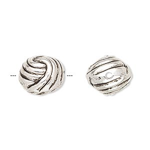 bead, antiqued silver-finished copper-coated plastic, 13.5mm knotted ball. sold per pkg of 50.