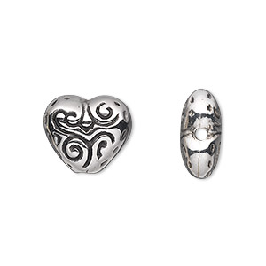 bead, antiqued silver-finished copper-coated plastic, 15x13mm double-sided heart. sold per 50-gram pkg, approximately 60 beads.