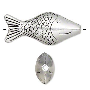 bead, antiqued silver-finished pewter (zinc-based alloy), 52x22mm double-sided fish, 2.5mm hole. sold per pkg of 2.