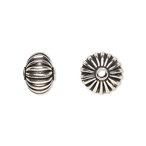 bead, antiqued sterling silver, 10mm corrugated round. sold per pkg of 4.