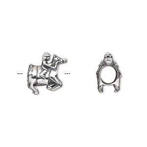 bead, antiqued sterling silver, 12.5x12mm double-sided horse and rider with 4.5-5mm hole. sold individually.