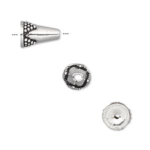 bead, antiqued sterling silver, 12x8mm beaded cone. sold per pkg of 2.