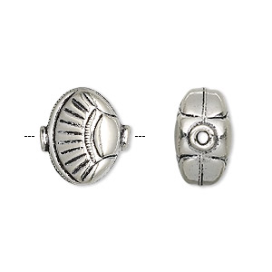 bead, antiqued sterling silver, 15x15x9mm fluted shell. sold individually.
