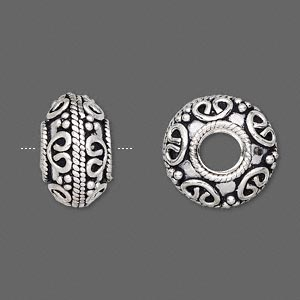 bead, antiqued sterling silver, 16x10mm fancy rondelle, 6mm hole. sold individually.