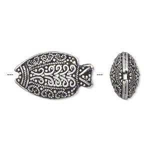 bead, antiqued sterling silver, 23x14mm filigree puffed fish with beaded dots, swirls and braids. sold individually.