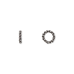 bead, antiqued sterling silver, 8x2mm fancy rondelle, 5mm hole. sold per pkg of 10.