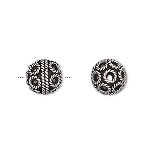 bead, antiqued sterling silver, 9mm round with circle design. sold per pkg of 5.