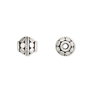 bead, antiqued sterling silver, 9mm round with circles. sold per pkg of 2.