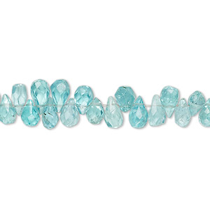 bead, apatite (natural), 6x3mm-7x4mm hand-cut top-drilled faceted teardrop, b- grade, mohs hardness 5. sold per 4-inch strand.