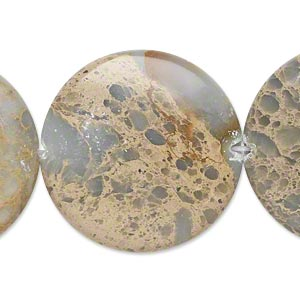 bead, aqua terra jasper (natural), 30mm puffed flat round, b grade, mohs hardness 3-1/2 to 4. sold per pkg of 2.