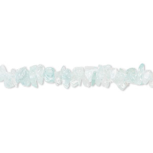 bead, aquamarine (dyed / heated), small chip, mohs hardness 7-1/2 to 8. sold per 36-inch strand.