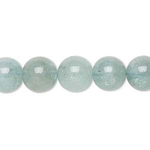 bead, aquamarine (heated), 10-11mm round, c- grade, mohs hardness 7-1/2 to 8. sold per 15-inch strand.