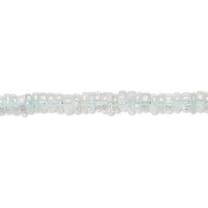 bead, aquamarine (heated), 4x1mm-5x2mm hand-cut rondelle, b grade, mohs hardness 7-1/2 to 8. sold per 8-inch strand, approximately 100-150 beads.