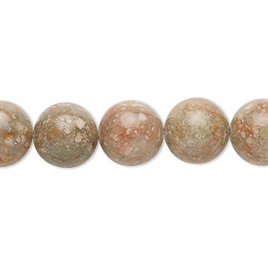 bead, autumn jasper (natural), 10mm round, b grade, mohs hardness 6-1/2 to 7. sold per 16-inch strand.