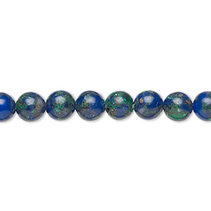 bead, azurite-malachite (assembled), 6mm round. sold per 16-inch strand.