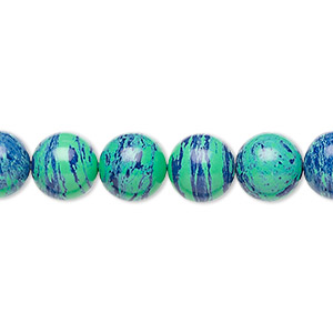 bead, azurite-malachite (imitation), 8mm round. sold per 16-inch strand.