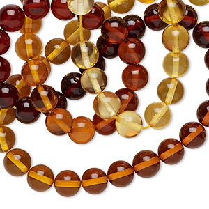 bead, baltic amber (heated), shaded, 6mm round, a grade, mohs hardness 2 to 2-1/2. sold per 16-inch strand.