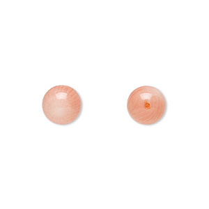 bead, bamboo coral (dyed), pink, 7.5-8.5mm half-drilled round, mohs hardness 3-1/2 to 4. sold per pkg of 2.