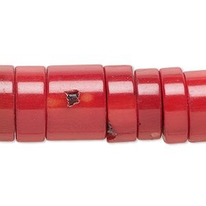 bead, bamboo coral (dyed), red, 16x7mm-16x12mm hand-cut heishi, mohs hardness 3-1/2 to 4. sold per 16-inch strand.
