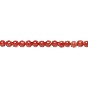 bead, bamboo coral (dyed), red, 2-3mm round, c grade, mohs hardness 3-1/2 to 4. sold per 15-inch strand.