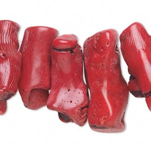 bead, bamboo coral (dyed), red, 28x10mm-50x17mm stick, c grade, mohs hardness 3-1/2 to 4. sold per 14-inch strand.