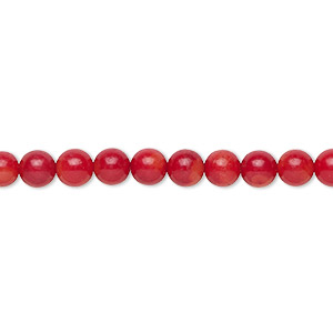 bead, bamboo coral (dyed), red, 5.5-6mm hand-cut round with 0.7-0.8mm hole, b grade, mohs hardness 3-1/2 to 4. sold per 16-inch strand.