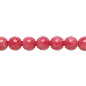 bead, bamboo coral (dyed), red, 6-7mm round, b- grade, mohs hardness 3-1/2 to 4. sold per 15-inch strand.