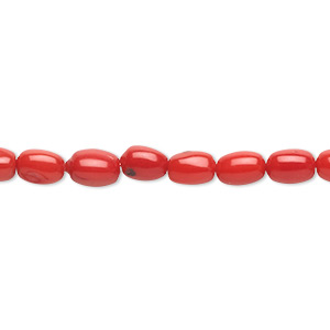 bead, bamboo coral (dyed), red, 6x3mm-7x3mm oval, c grade, mohs hardness 3-1/2 to 4. sold per 16-inch strand.