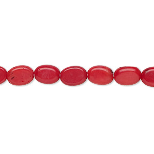 bead, bamboo coral (dyed), red, 8x6mm hand-cut flat oval, c grade, mohs hardness 3-1/2 to 4. sold per 16-inch strand.