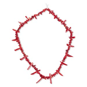 bead, bamboo coral (dyed), red, small chip and 10x3mm-25x5mm graduated top-drilled stick, c grade, mohs hardness 3-1/2 to 4. sold per 15-inch strand.