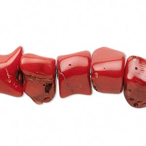 bead, bamboo coral (dyed), red to dark red, 10-18mm freeform, mohs hardness 3-1/2 to 4. sold per 15-inch strand.