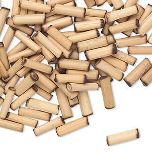 bead, bamboo (natural), 11x2mm-15x3mm round tube. sold per pkg of 100.