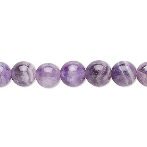 bead, banded amethyst (natural), 8mm round, b grade, mohs hardness 7. sold per 16-inch strand.