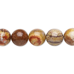 bead, birdseye rhyolite (natural), 10mm round, b grade, mohs hardness 6-1/2 to 7. sold per 16-inch strand.