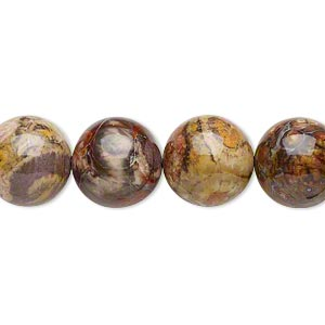 bead, birdseye rhyolite (natural), 12mm round, b- grade, mohs hardness 6-1/2 to 7. sold per 16-inch strand.