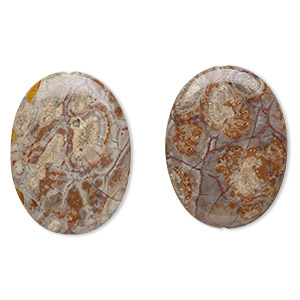 bead, birdseye rhyolite (natural), 40x30mm flat oval, b grade, mohs hardness 6-1/2 to 7. sold per pkg of 2.